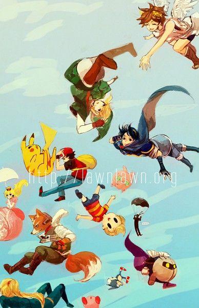 Super Smash Bros., Nintendo, Pikachu, Link, Lucas, Meta Knight, Princess peach, Sonic, Fox, Kirby, Zero Suit Samus, Marth, Pit
