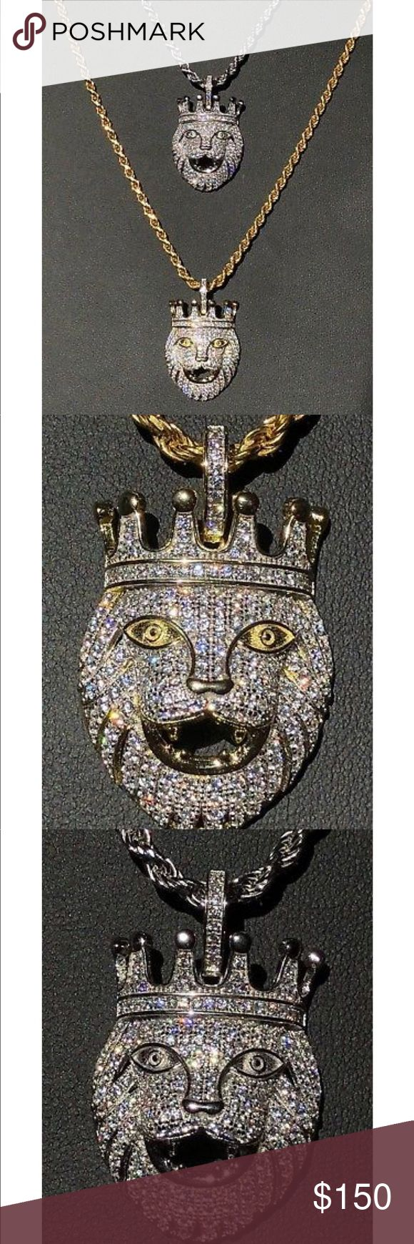 "Lion W. Crown 14k Gold & Solid 925 Sterling Silver Lion W. Crown 14k Gold & Solid 925 Sterling Silver Pendant 1.5ct Lab Diamond LEO.                                             Lengths matching rope chain - 22"" 24"" 26"" 28"".                  Colors - 14k white or yellow gold finish Accessories Jewelry"