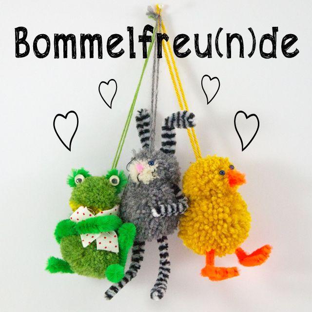 Frosch, Hase und Küken, plüschig, süß aus Wollrest-Pompoms zieren dieses Jahr meinen Osterstrauß! Die sind ganz einfach nach zu basteln - auch für Kinder!