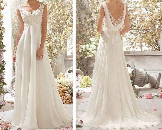 White /Ivory Chiffon Wedding Dress Lace Cap Sleeve Wedding Dress Bridal Gowns Floor Length Chiffon Beach Wedding Dresses Prom Dress on Etsy, $129.00