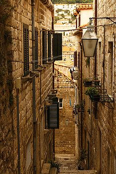 Narrow street of the ancient city by George Westermak#George Westermak#FineArtPrints#architecture#various_cities,#countries