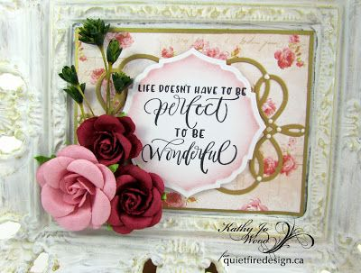 Upcycled frame using beautiful calligraphy stamp from Quietfire Design (designed by Suzanne Cannon) and dies from Spellbinders (designed by Becca Feeken).