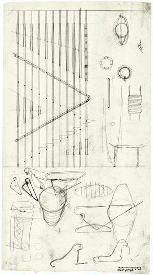 early sketch for main stairway   Villa Mairea   Noormarkku, Finland   Alvar Aalto 1938-39