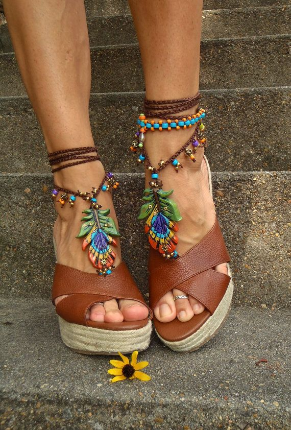 PEACOCK FEATHER barefoot Sandals Oriental jewelry by GPyoga, $99.00