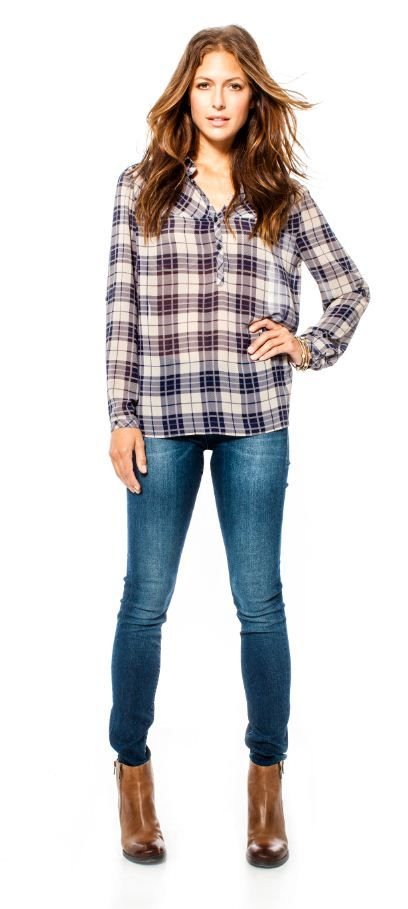 Perfect purple plaid Andy Blouse at bootlegger.com