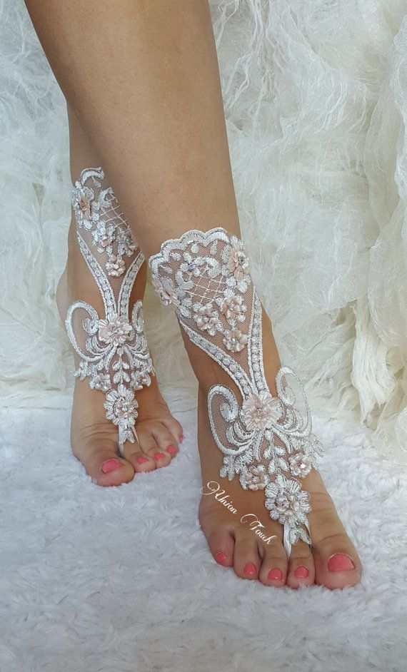 Ivory Silver Lace Barefoot Beach Wedding Sandals