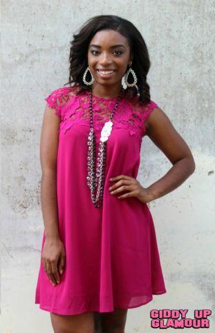 On My Radar Shift Dress with Crochet Lace Yoke in Magenta