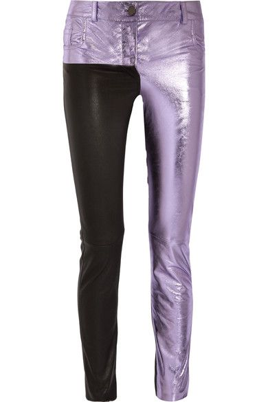 Haider Ackermann - Metallic And Matte Leather Skinny Pants - Lilac - FR34