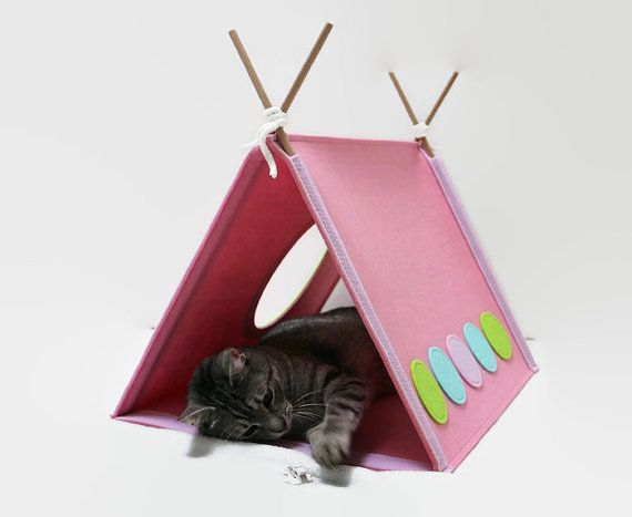 Cat house pink Cat toy Modern cat furniture by CatsbyDesign