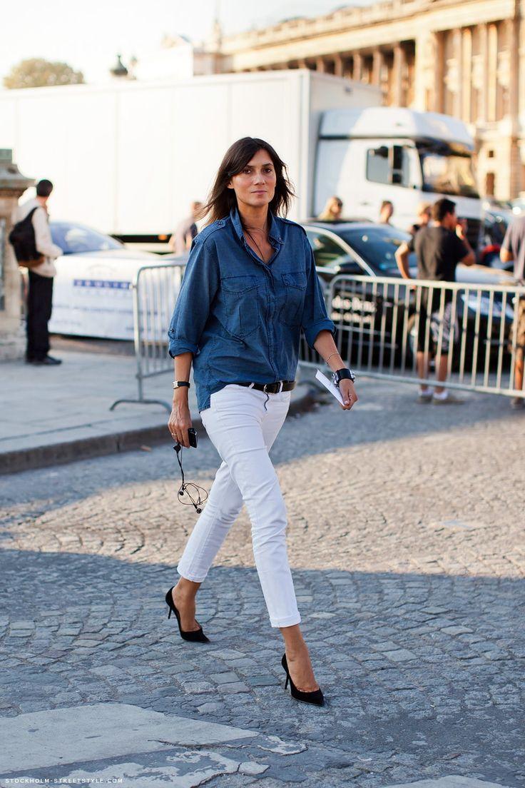white jeans denim shirt
