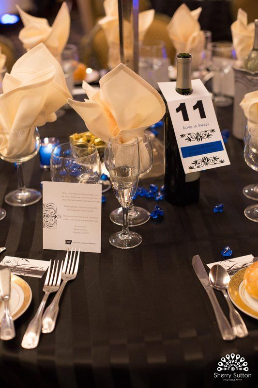 Blue and neutral tablescape for formal wedding Photo By Sherry Sutton Photography