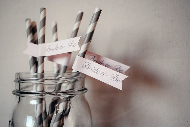 Bride to Be Drink Straw Flags. Bridal shower guests will love sipping their drinks from vintage paper straws with these darling flags attached - from Go Against the Grain - as seen in the www.BrendasWeddingBlog.com Wedding Shop