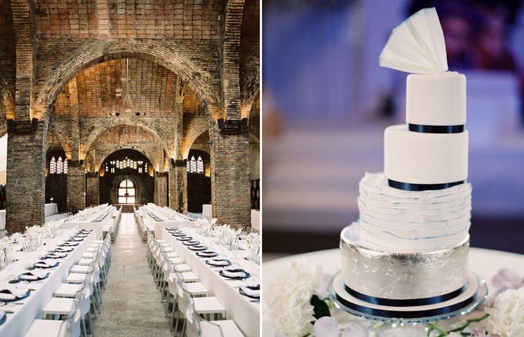 An ivory and silver foil cake for Jill and Niraj