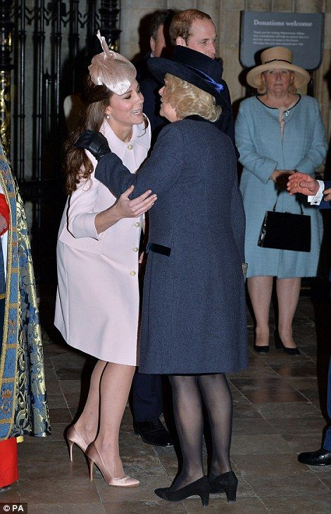 The Duchess also stopped to kiss her mother-in-law, the Duchess of Cornwall.