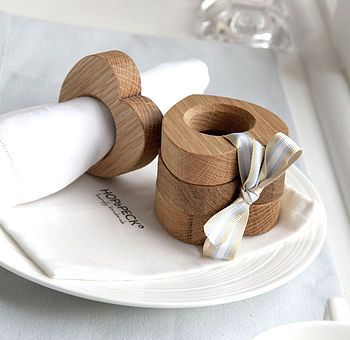Four Wooden Heart Napkin Rings Solid Oak | Not on the Highstreet