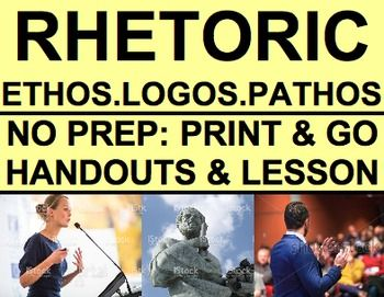 Rhetorical Devices Ethos Logos Pathos: No Prep Introductory Rhetoric Lesson: Introduce Rhetorical Devices Ethos, Logos, & Pathos. Everything you need to teach students to define, identify, analyze and use Persuasive Appeals of Ethos, Logos and Pathos. NO PREP Print & Go: Worksheets & Lesson Plan for understanding, identifying and using Logos, Pathos, and Ethos Persuasion Techniques. #rhetoriclessons #ethoslogospathos