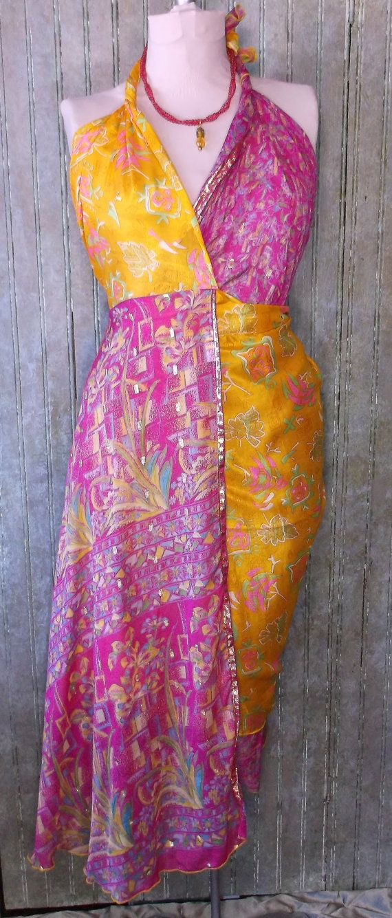 34 silk Wrap Skirt made from vintage by KittyBritchesBoutiqu, $35.00
