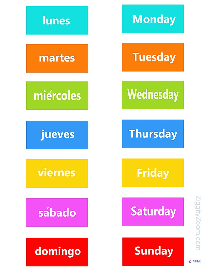 Spanish/English Days of the Week