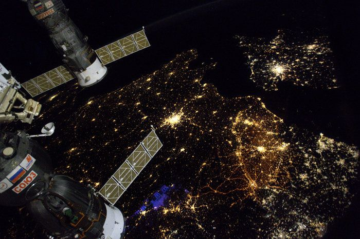 "ESA astronaut Thomas Pesquet took this image from on board the International Space Station. He posted it on social media, commenting: ""A strange feeling: I think of what friends and family are doing now on Earth, while I'm taking pictures of them from space... Hi Paris and France: you are beautiful tonight!"""