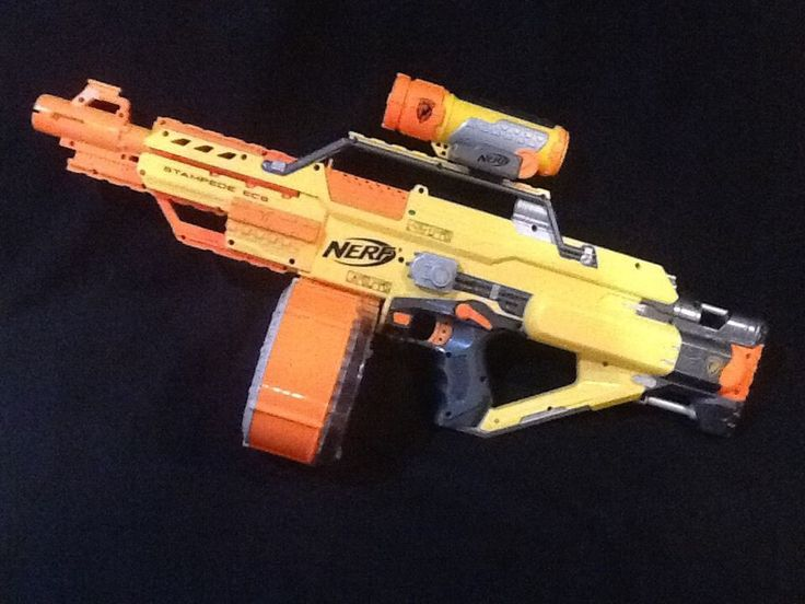 NERF N-Strike STAMPEDE ECS Dart Blaster Automatic GUN With Scope & 35 Shot Drum #Hasbro