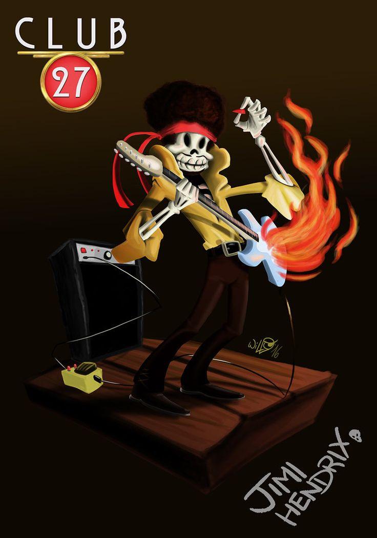 Club 27 Jimi Hendrix, digital paint