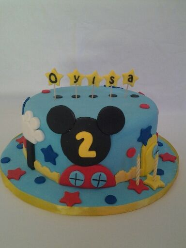 Mickey Mouse cake. I have done this one a few times, heheheheh