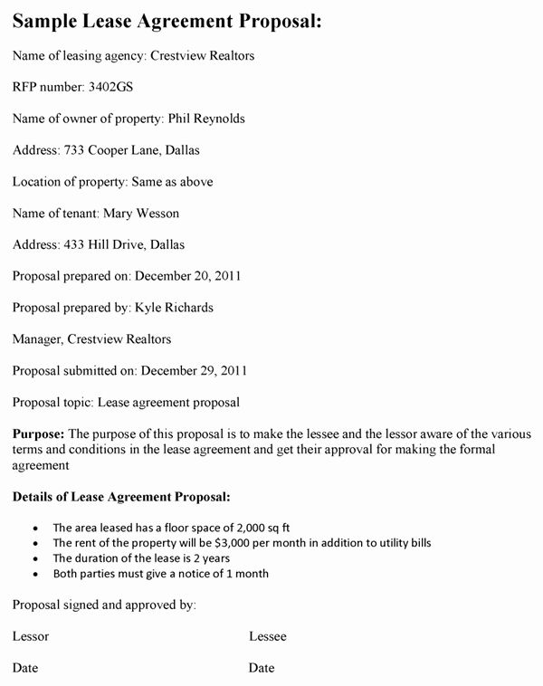 Commercial Lease Proposal Template Fresh Lease Agreement Proposal Template Proposal Templates Proposal Free Business Proposal Template