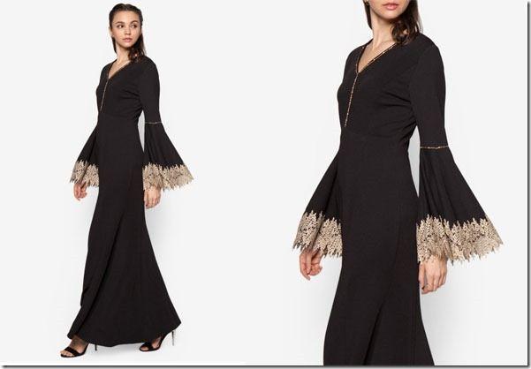 Princessy Maxi Dress Ideas For Raya 2016 / bell-sleeve-black-mermaid-dress