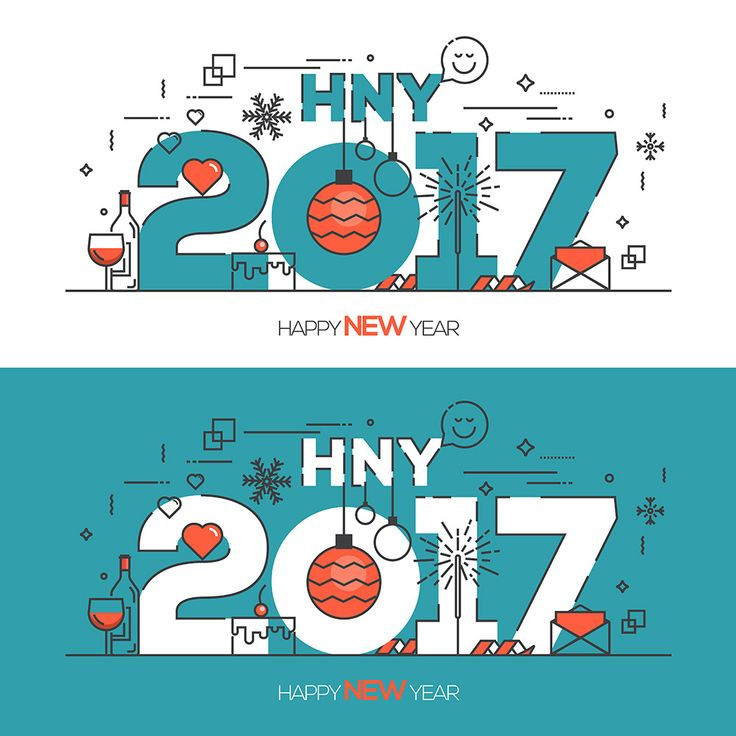 Flat Thin Color Line Concept of Happy New Year on Behance