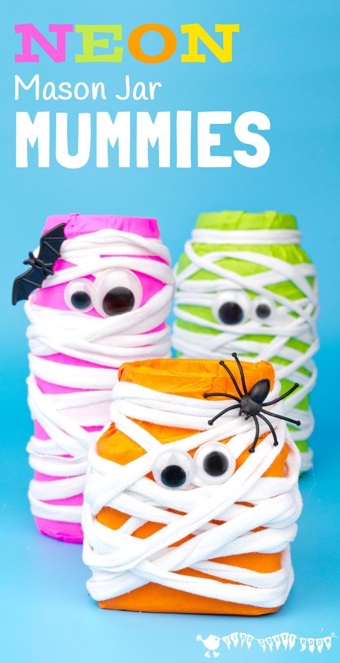 MASON JAR MUMMIES - This Halloween make spooky Neon Mason Jar Mummies. These colourful mummies look great day and night! Fill them with candy for Halloween treats or tea lights for Mummy Luminaries.