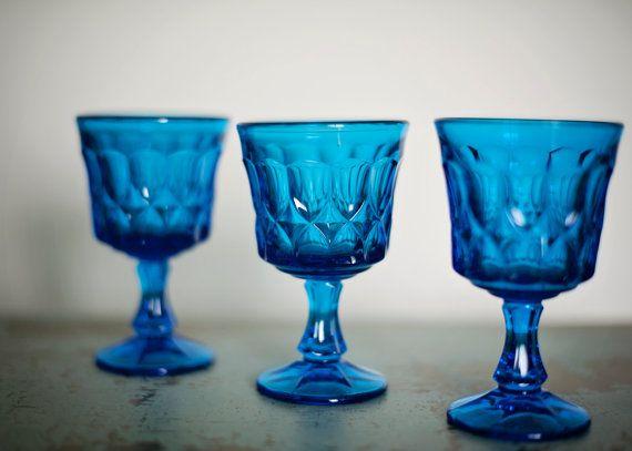 Vintage Blue Wine Glasses by Noritake by LovelyAnnaJane on Etsy, $36.00