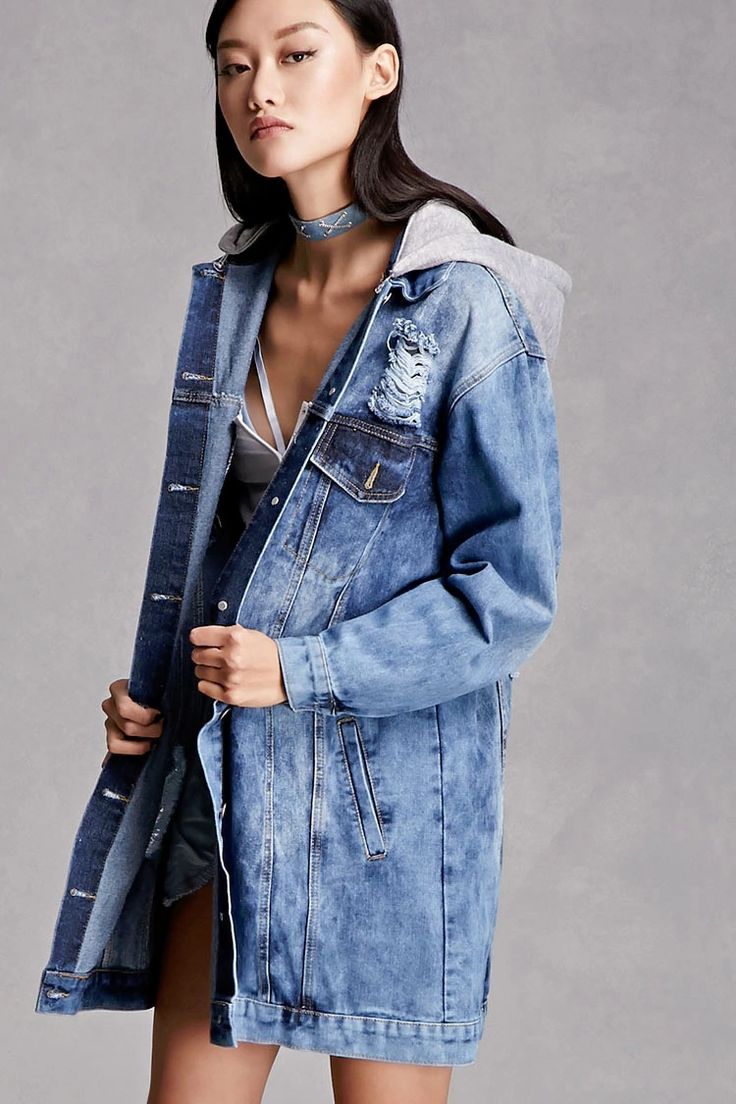A denim jacket featuring a distressed design, a heathered removable hood, a subtle bleach dye, basic collar, button front, chest flap pockets, slanted front pockets, and long dropped sleeves. This is an independent brand and not a Forever 21 branded item.