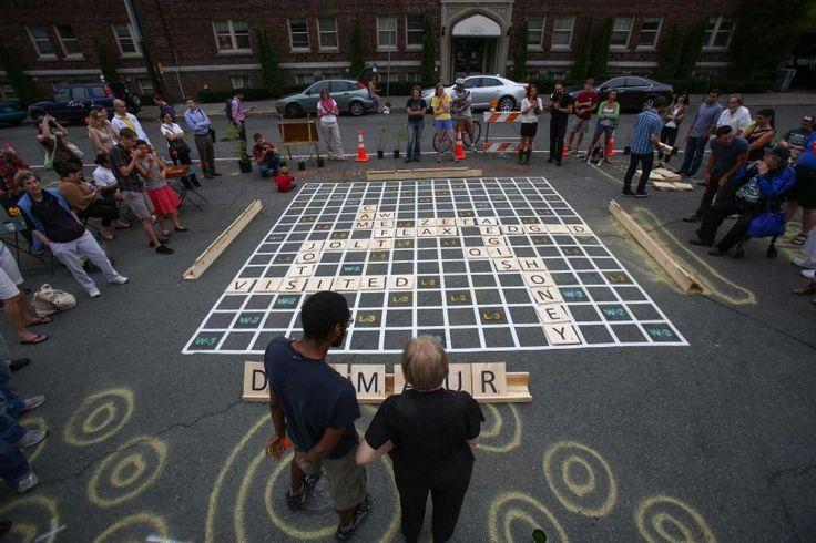 Street Scrabble tournament. - Organized by Seattle DOT to highlight lack of open space and potential use of street areas as gathering spaces.