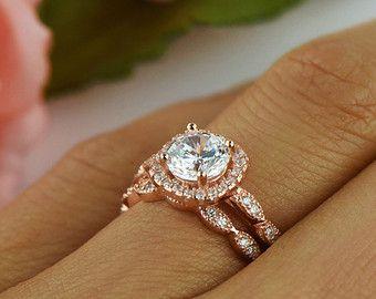 Art-Deco-Hochzeitsband zarte Ring 15 mm Stapeln von TigerGemstones