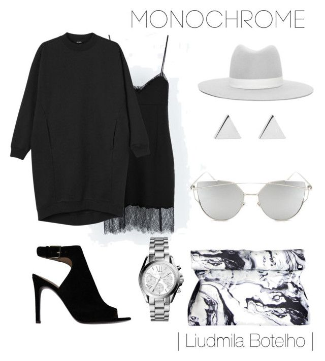 Untitled #50 by liudmila-botelho on Polyvore featuring polyvore fashion style Monki Tory Burch Michael Kors Jennifer Meyer Jewelry Janessa Leone Chicnova Fashion clothing monochrome