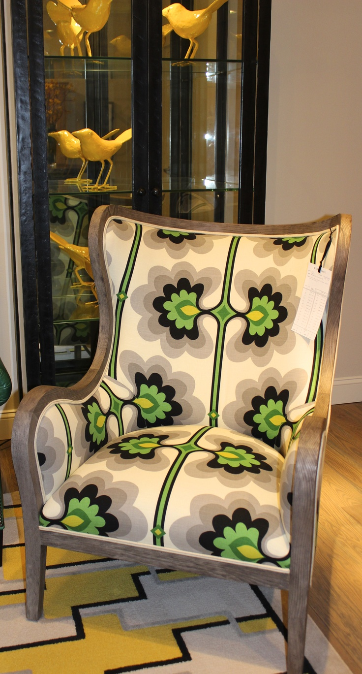 Wesley Hall- 310 North Hamilton Style Number 740 Fabric: Arabella/Malachite  Finish: Greystone #HpMkt  #stylespotters Everybody needs at least one crazy fun chair in their home and this is IT!