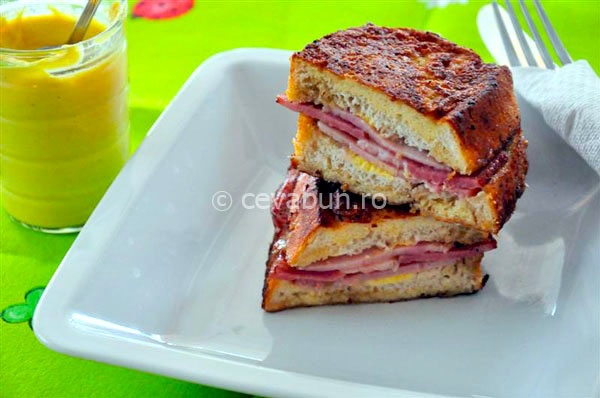 Stuffed French toast with smoked ham