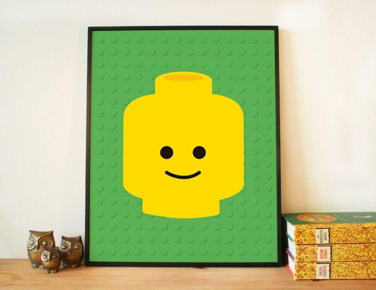 DIY gift idea Lego head printable 8x10 art by HelloOliveDesigns