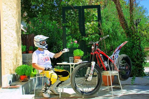 Trial X in Volos, Greece. Marios Pol is enjoying his coffee with his GasGas trial bike.
