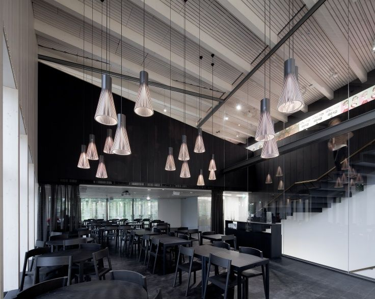 Secto 4200 pendants in black creating a special feeling to the restaurant of the newly renovated Serlachius museum located in Mänttä, Finland. Photo by: Pedro Pegenaute. www.sectodesign.fi