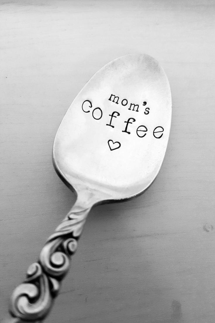 Mom's Coffee Spoon w/ Heart, Coffee Spoon, Hand Stamped Spoon, Vintage, Silverplate, Mom Gift, Present, Mother's Day, Christmas, Birthday by SweetMintHandmade on Etsy https://www.etsy.com/listing/473616672/moms-coffee-spoon-w-heart-coffee-spoon