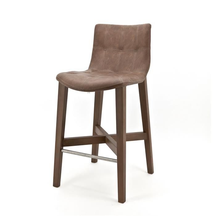 Bar chair Neba with grey oak legs - Vintage brown (7037) #Barkruk #Stoel #Pakhuis3