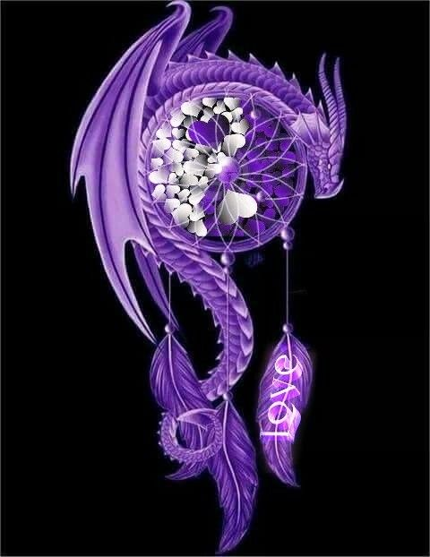 Purple Dragon With Withe Hearts Cute Dragon Tattoo