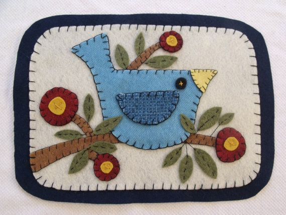 Primitive Penny Rug candle mat table mat Folk Art Blue Bird and Branch