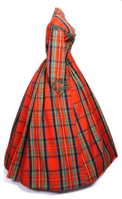 "Day dress, 1860s, in Royal Stuart plaid. From Plaid Petticoats: ""The Glare and Glitter is Brutal"": Chemical Dyes and Plaids of the Mid-19th Century"