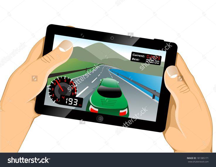 Playing Game On Tablet Стоковая векторная иллюстрация 181385171 : Shutterstock