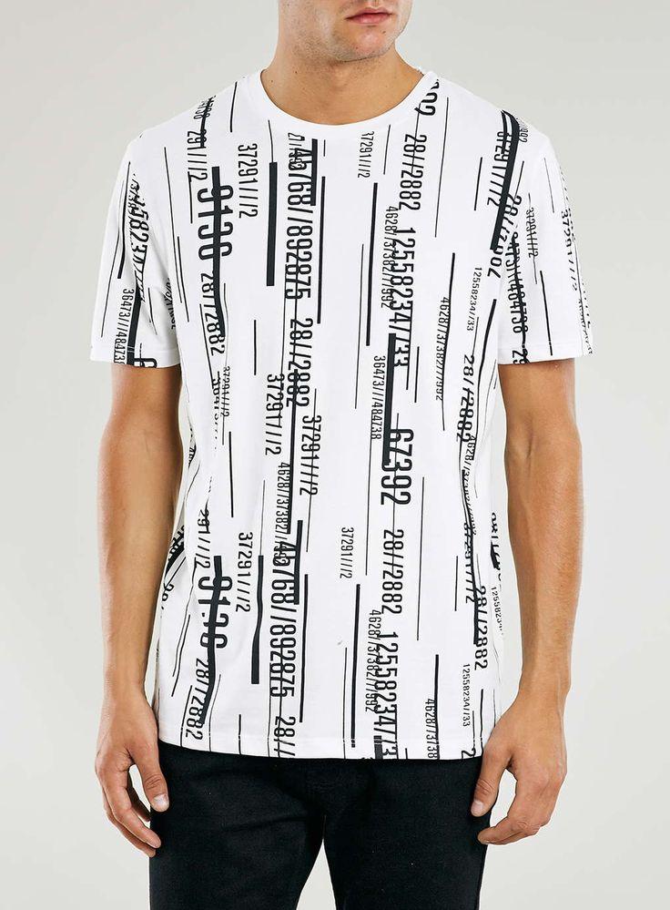 White Slim Fit Matrix Crew Neck T-Shirt