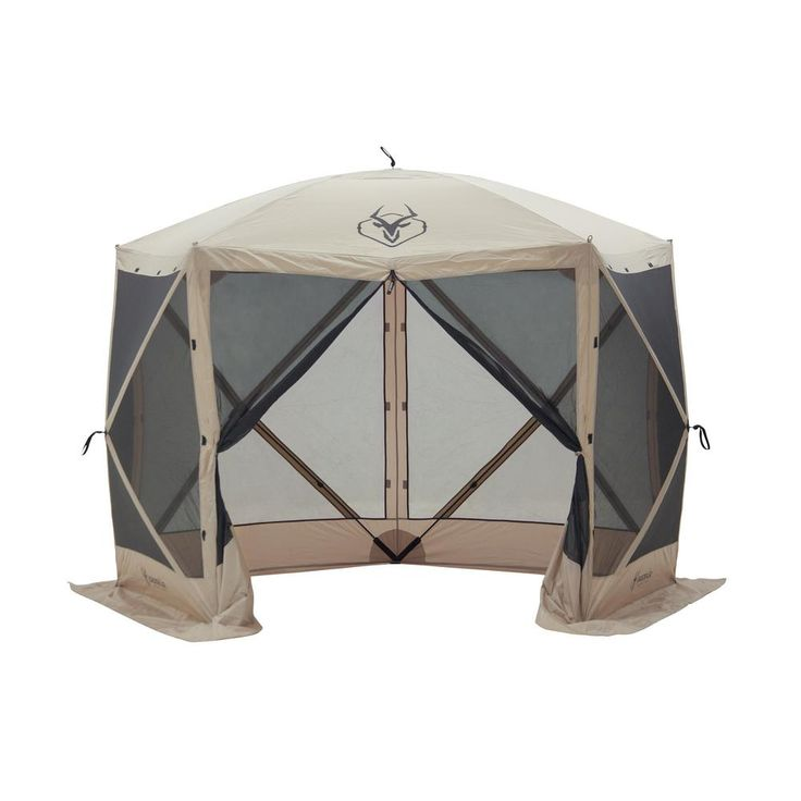 115 in. W x 106 in. D x 85 in. H 5-Sided Tan UV and Water Resistant Roof Polyester and Mesh Portable Gazebo