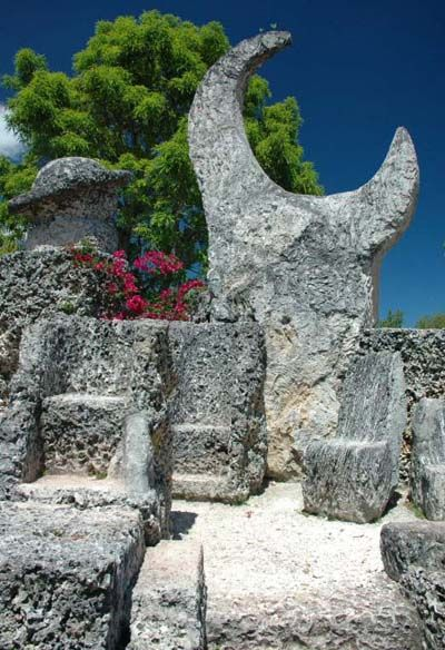 Coral Castle with coral furniture ~ Miami, FL : carved entirely out of coral by one man, lusting over his sweet 16 who left him at the alter.