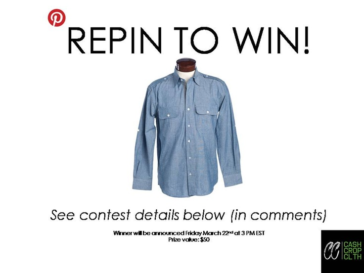 "Steps to enter:  1. Follow Cash Crop Clothing on Pinterest    2. REPIN this image    3. Write ""SPRING"" in the comments section below    Contest ends March 22nd at 3 PM EST. The winner will be announced in the comments of this image."